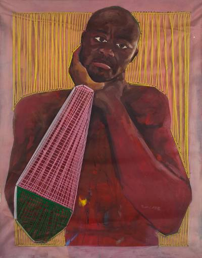 'Moments of Silence' - Expressionist Oil Painting of Man from Ghana