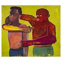 'Blame Game I' - Cotton and Oil on Canvas Painting of Two Men
