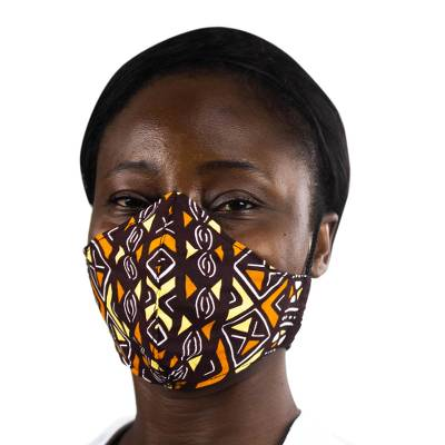Cotton face mask, 'Warm Geometry' - Geometric African Print Brown & Yellow Cotton Face Mask