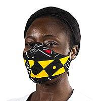 Cotton face mask, 'Bold Geometry' - Geometric African Print Red & Yellow Cotton Face Mask