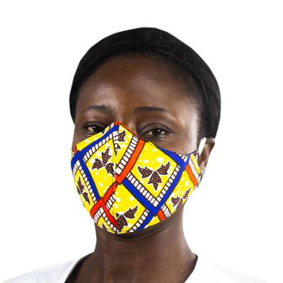Cotton face mask, Ghanaian Blossom