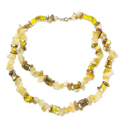 Agate and Recycled Glass Bead Necklace