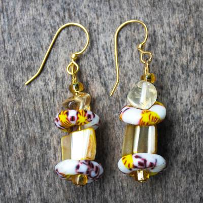 Agate and recycled glass bead dangle earrings, 'Nuku' - Agate and Recycled Glass Bead Dangle Earrings