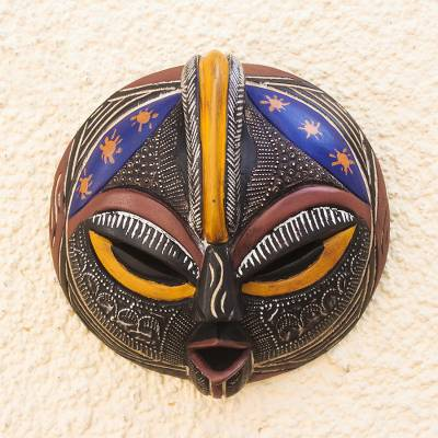 African wood mask, 'Special Forces' - Hand Carved Sese Wood and Aluminum Plated Mask