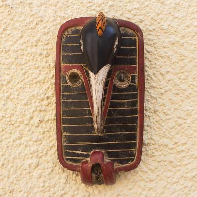 African wood mask, 'Loofolo' - African Sese Wood Hand Carved Bird Mask
