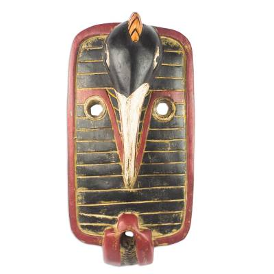 African Sese Wood Hand Carved Bird Mask