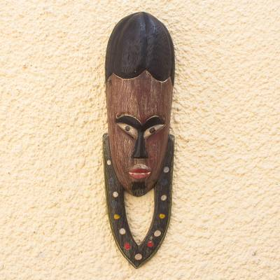 African wood mask, 'Okwantwefo' - Hand Carved African Sese Wood Mask