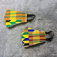 Cotton face masks, 'Edwene Asa' (pair) - 2 Colorful African Kente Print 2-Layer Contour Face Masks