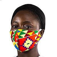 Cotton face mask, 'Bright Kente Heritage' - Ghanaian Multicolor Kente African Print Ear Loop Face Mask