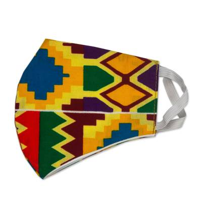 Cotton face mask, 'Bright Kente Heritage' - Ghanaian Multicolor Kente African Print Ear Loop Face Mask