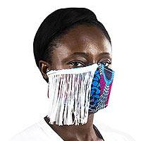 Fringed cotton face mask, 'Celebrate Life' - African Print Elastic Headband Cotton Face Mask with Fringe