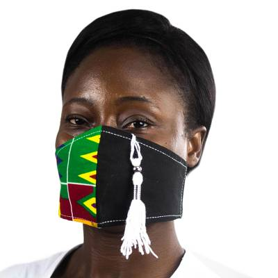 Cotton face mask, 'Kente Tradition' - Two-Tone Solid Black and Kente African Print Face Mask