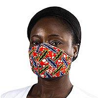 Cotton face mask, 'Protect Yourself' - Red-Blue-Yellow African Print Elastic Headband Face Mask