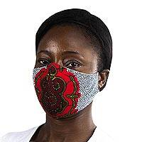 Cotton face mask, 'Red Tortoise Wisdom' - Red & Multicolor African Print 2-Layer Cotton Face Mask