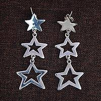 Sterling silver dangle earrings, 'Brilliant Stars' - Star Cascade Sterling Silver Dangle Earrings