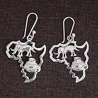 Sterling silver dangle earrings, 'Africa's Treasure' (2.2 inch) - Sterling Silver Earrings of African Continent (2.2 inch)