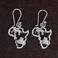 Sterling silver dangle earrings, 'Africa's Treasure' (1.8 inch) - Sterling Silver Earrings of African Continent (1.8 inch)