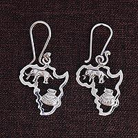 Sterling silver dangle earrings, 'Africa's Treasure' (1.8 inch)