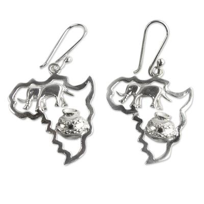 Sterling silver dangle earrings, 'Africa's Treasure' (1.8 inch) - Sterling Silver Earrings of African Continent (1.8 inch)