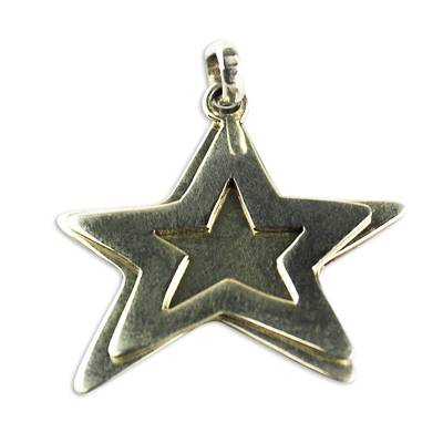 Sterling silver pendant, 'Brilliant Stars' - Sterling Silver Double Star Pendant from Ghana