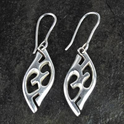 Sterling silver dangle earrings, 'Adom' - Graceful Sterling Silver Dangle Earrings