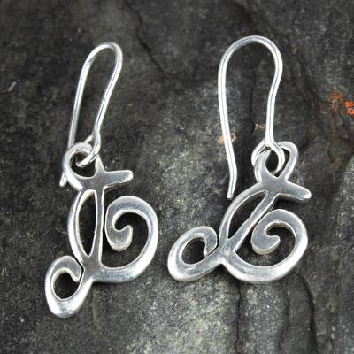 Sterling silver dangle earrings, 'Music to My Ears' - Music Lover Treble Clef Sterling Silver Earrings
