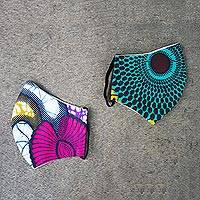 Cotton face masks 'Nsubura' (pair) - 2 Multicolor Contoured 2-Layer African Cotton Print Masks