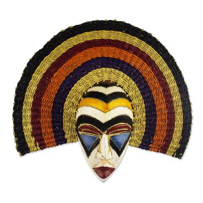 African wood mask, 'Okpueze' - Hand Carved African Wood Mask