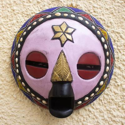 African wood mask, 'Kellan' - Hand Carved African Sese Wood Mask