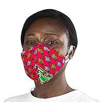 Cotton face mask, 'Cherry Red Henhouse' - Red African Hen Print 2-Layer Cotton Mask with Ear Loops