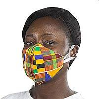 Cotton face mask, 'Kente Melange' - Ghanaian African Kente Print Cotton 2-Layer Ear Loops Mask