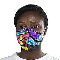 Cotton face mask, 'Circles of Beauty' - Abstract African Print 2-Layer Cotton Ear Loop Mask