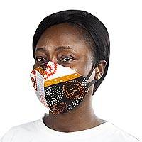 Cotton face mask, 'Royal Africa' - Modern African Abstract Print 2-Layer Cotton Ear Loop Mask