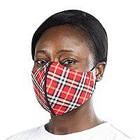 Cotton face mask, 'Red Plaid Classic' - Red Cotton Plaid 2-Layer Mask w/Ear Loops