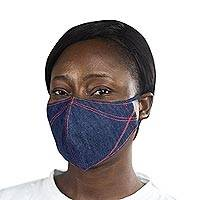 Cotton face mask, 'Blue Denim Fashion' - Blue Denim Cotton 2-Layer Mask with Ear Loops