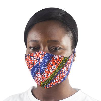 Cotton face mask, 'Akaa Stripe' - Two Layer Cotton Print Face Mask