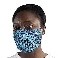 Family set cotton face masks, 'Blue Gatekeeper' (pair) - 2 Ornate Blue African Print Cotton Tie-On Family Pack Masks