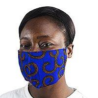Adult and child family set cotton face masks, 'Sapphire Vines' (pair) - 2 Sapphire Blue African Print Cotton Tie Family Pack Masks