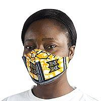 Cotton face mask, 'Life I' - Yellow and Black Print Washable Cotton Face Mask