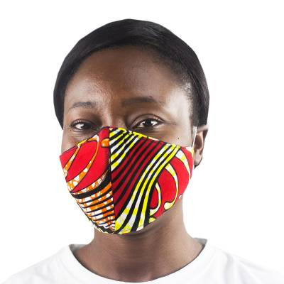 Cotton face mask, 'Classic' - Contoured Cotton Face Mask from Ghana