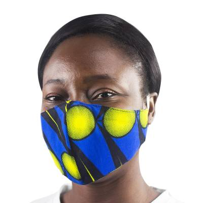 Cotton face mask, 'Morning Sun' - Unisex Reusable All Cotton Face Mask