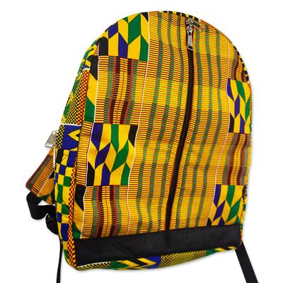 Yellow Kente Pattern Cotton Backpack