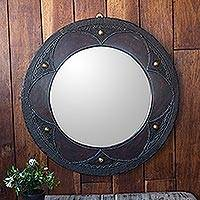 Wood wall mirror, 'Floral Ring' - Hand Made Sese Wood Floral Framed Mirror