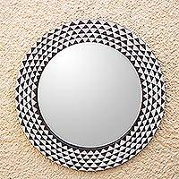 Wood wall mirror, 'Graceful Reflection in Brown' (23 inch) - Round Sese Wood Mirror Triangle Motif (23 Inch)