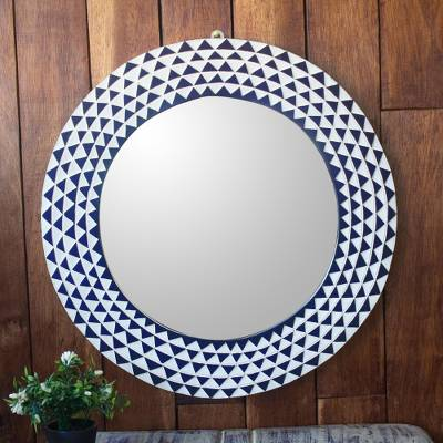 Wood wall mirror, 'Graceful Reflection in Blue' (22 inch) - Round Sese Wood Mirror Triangle Motif (22 Inch)
