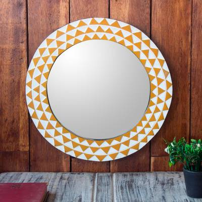 Wood wall mirror, 'Graceful Reflection in Yellow' (16 inch) - Round Sese Wood Mirror Triangle Motif 16 Inch