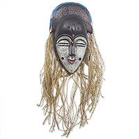 African wood mask, 'Teke' - Hand Carved African Sese Wood and Raffia Mask