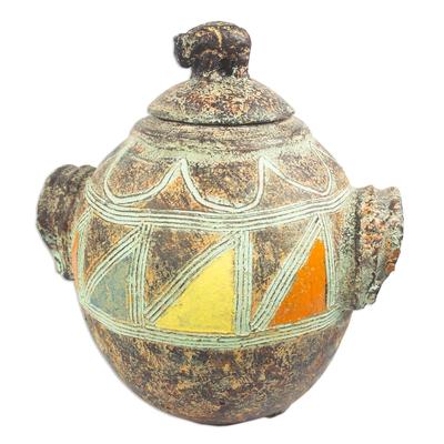 Decorative Elephant-Motif Ceramic Pot