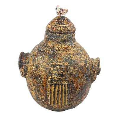 Hand Crafted Giraffe-Themed Ceramic Pot