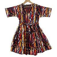 Cotton short-sleeved dress, 'Good Woman' - Knee Length Short Sleeved Cotton Dress from Ghana
